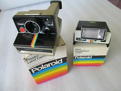 Vintage 1970's Instant film Polaroid, Presto Land camera, Flash unit & boxes