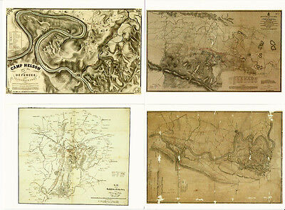 Civil War Battle Map Art 4 Postcard Lot Gettysburg Camp Nelson Chickamauga