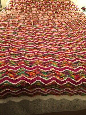 """Hand Knitted Multi Color Blanket 70""""x100""""(christmas colors)pics"""