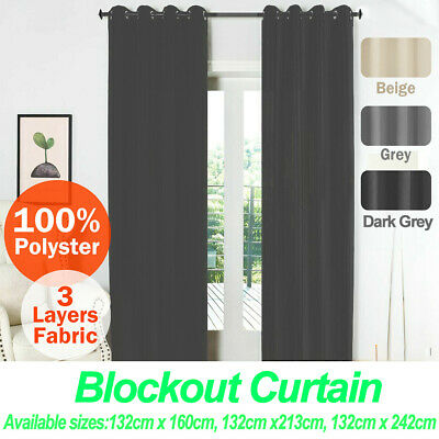 2X Blockout Curtains Pair Eyelet Thermal Blackout Curtains Fabric for any room