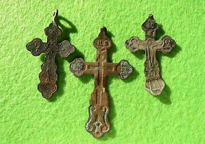 ANTIQUE 17-19th Russian Orthodox Pectoral 3pcs Cross Old Believers Christian #3