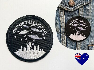 UFO Iron On Patch Badge Clothes Sticker X-Files Spaceship Out Of This World