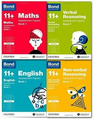 Bond 11+ Plus 8-9 Year Assessment Papers 4 books English Maths Non Verbal &Ver