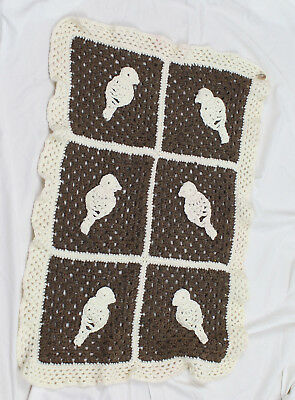 Handmade By Kate Edwards Rocheted Baby Blanket Baby Brown Beige Birds