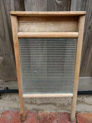 Antique Vintage Australian Ribbed Glass & Pine Framed Laundry Washboard