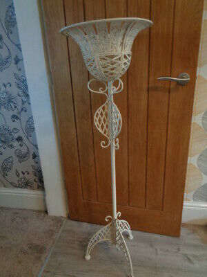 Large Tall Shabby Chic Cream Wrought Iron Planter / Candle Holder