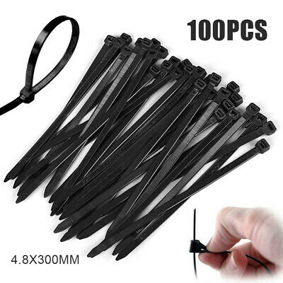 100Pcs Cable Ties Zip Ties Nylon UV Stabilised Bulk Electrical Wire 4.8x300mm