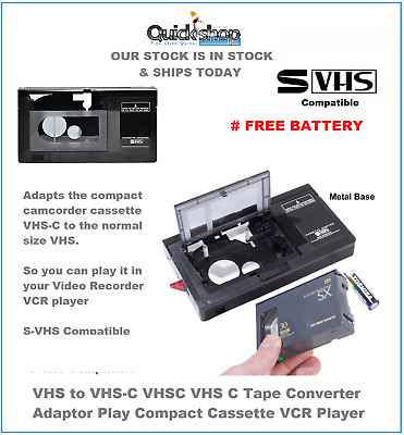 VHS to VHS-C VHSC VHS C Tape Converter Adaptor Play Compact Cassette VCR Player