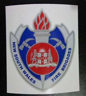 OBSOLETE NSW NEW SOUTH WALES FIRE BRIGADES REFLECTIVE STICKER 100x85mm