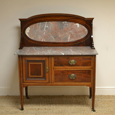 Quality Victorian Mahogany Inlaid Antique Wash Stand