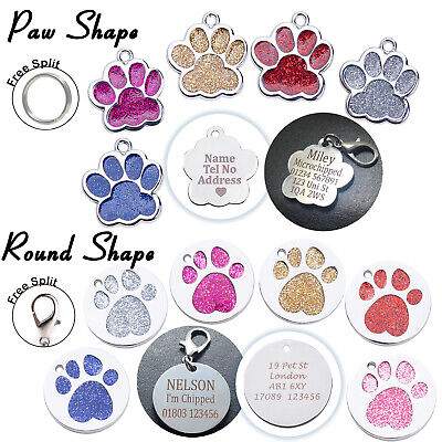 Personalised Glitter Paw Shape Dog Cat Engraved Pet ID Name Collar Charm Tags