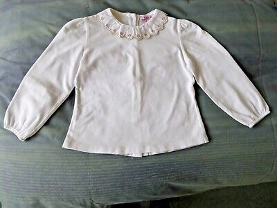 Trotters Confiture Girls Holly Embroidered Jersey Blouse  - 4/5 Yrs