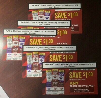 5 X $1.00 Swisher Sweets Cigar Coupons Vouchers Expires 10/31/2021