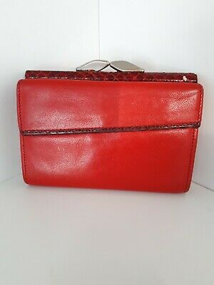 Vintage Red Purse Real Leather UK Made Wallet Coin Clasp 70s /I1903