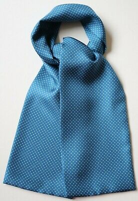 """Soft Silk Cravat in blue with white pin dot spots 39"""" x 5"""" Hand made"""