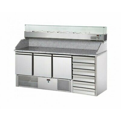 Refrigerated Saladette Td with Floor and Riser in Granite + Showcase - 3 Port +