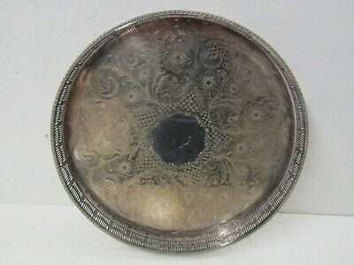 VINERS of Sheffield - Alpha Silver Plate 'Chased' Round Gallery Tray (37 cm)