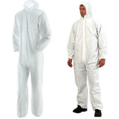 White Disposable Protective Overall Coveralls Lab Coat Painters Boiler Suit