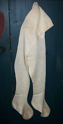 "GRUNGY 27"" ANTIQUE Woman's LONG WHITE STOCKINGS PRIMITIVE PEG RACK"