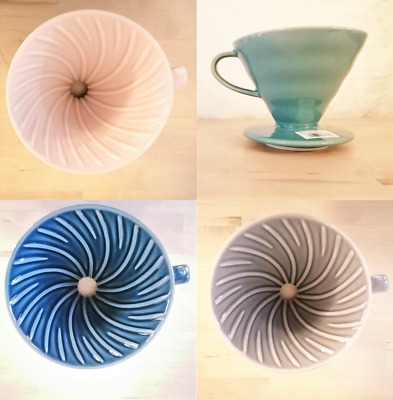 Hario V60 Dripper Ceramic 02 -colour choices: Turquoise, Blue, Pink, White, Gray