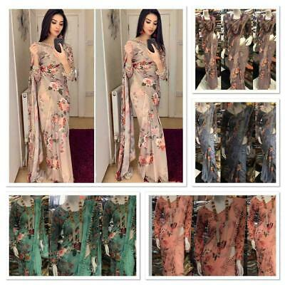 Saree Floral Indian Sari Designer Wear Blouse New Party Wedding Pakistani Print