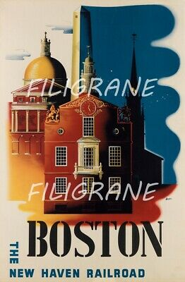 BOSTON Rphh-POSTER/REPRODUCTION A3+* d1 AFFICHE VINTAGE