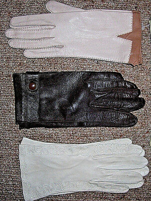 Vintage 1950s Ladies wrist length opera Gloves fine Kid Leather Pinup rockabilly