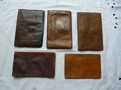 Lot of 5 Original Vintage 1930s 40s 50s Leather Wallets