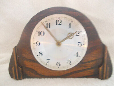Small Oak Desk/Mantel Clock In Woking Order, Missing Its Bezel