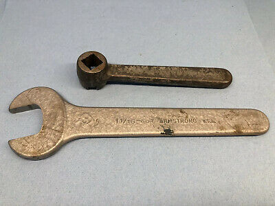 """Two Vintage Armstrong Wrench 1-1/16"""" Open End #607, Lathe Tool  #8083"""