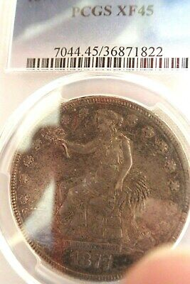 1877 Trade Silver Dollar PCGS XF 45 Toned