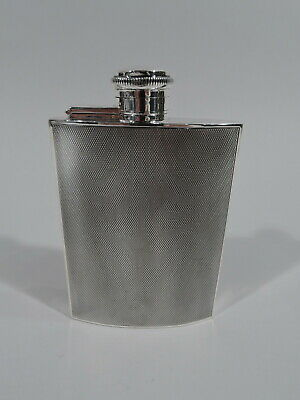 George V Hip Flask - Antique Art Deco Barware - English Sterling Silver - 1933
