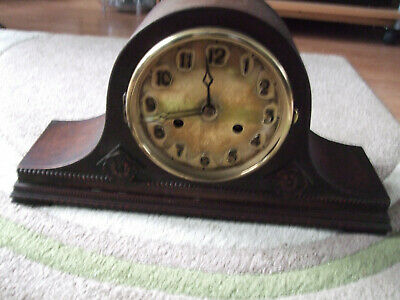 Mantle clock for spares or repair,decorated wooden case,don't know how old