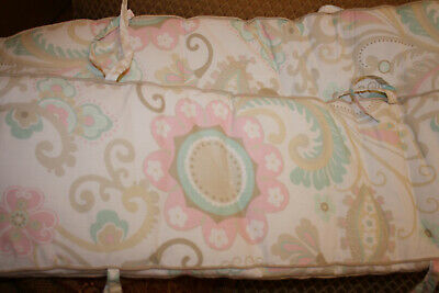 Pottery Barn Kids Maya Girls Floral Bumper Pads For Crib Pink Green Paisley