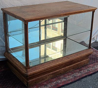 Large Victorian Quartersawn Tiger Oak Antique Display Case