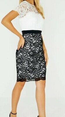 Womens Ladies Smart Casual Black /& White Lace Sleeveless Contrast Dress NWZ1007