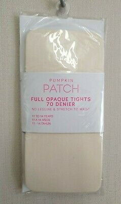BNWT Pumpkin Patch Brand Girls 11 to 14 Yrs Opaque Cream Footed Style Tights