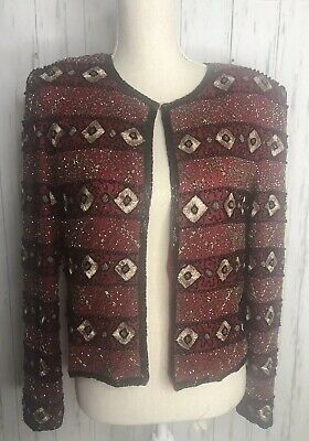 Papell Boutique Red Beaded Evening Jacket 100% Silk Sz Medium Christmas Party