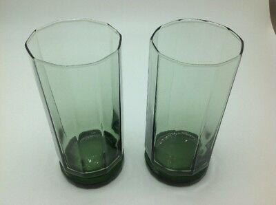 Vintage Anchor Hocking 10 Sided Tall Drinking Glass Tumblers Green Set Of 2
