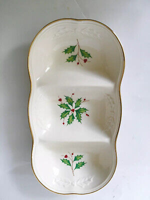 """LENOX Dimension Collection Holiday 3-Part Oval Gold Trim  Divided 12""""Platter"""