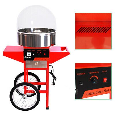 Electric Cotton Candy Floss Maker Machine Equipment with Stainless Steel Cart UK