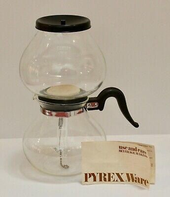 Vintage Pyrex Stove Top Vacuum  Coffee Maker + Instructions - 9 Cup - 7748 - GVC
