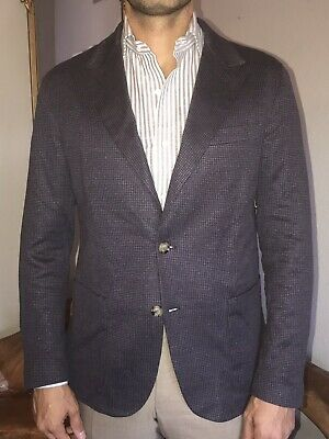 Eleventy Trim Fit Linen and Cotton Sportscoat in Houndstooth Size 42R US - $895