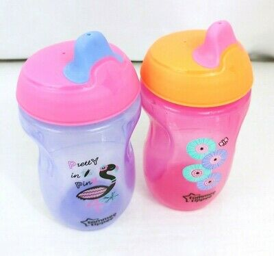 Lot of 2 Tommee Tippee Sippy Toddler Drinking Cups Girls Purple Pink