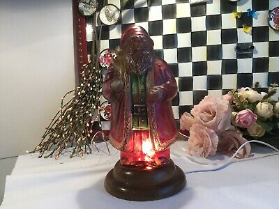 Vintage Reverse Painted Santa Claus - St Nick - Light/Lamp with Wood Base RARE