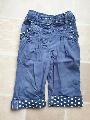 F&F 3/4 Cut Off Trousers 3-4 Years Blue & White Spots Adjustable Waist Nice Cond