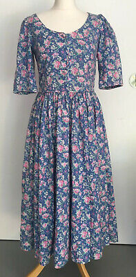 VINTAGE LAURA ASHLEY BLUE Floral PRAIRIE TEA DRESS COTTON 8 12 Button Boho Midi