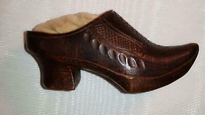 Antique Victorian Hand Carved Wooden Shoe Pin Cushion Sewing Notions Folk Art