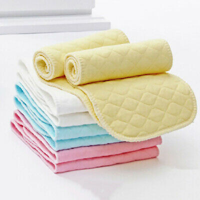 10Pcs Baby Cotton Cloth Diaper Washable 3 Layers Nappy Liners Inserts Reusable E