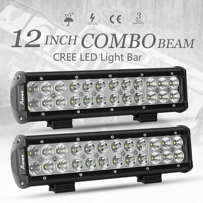 2x 12 inch 240W CREE LED Light Bar Spot Flood Work Driving Lamp Offroad 4WD 4x4